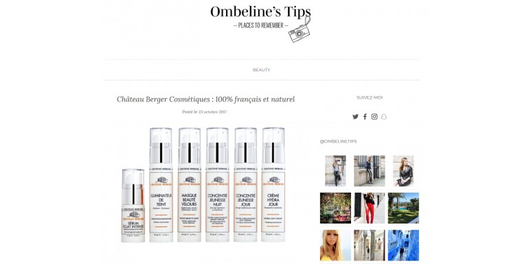 Ombeline's tips - Château Berger Cosmetiques: 100% French and natural