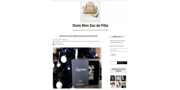 "Publication of the blog ""Dans mon sac de filles"" (In my girls' bag)"