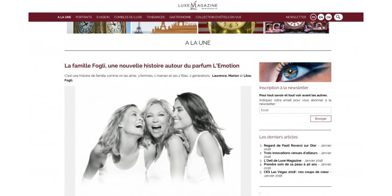 Luxe Magazine - The Fogli family, a new story about the perfume l'Emotion